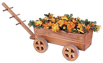 Carro Madera Marrón Carrito de flores para flores y plantas Tranvía Macetero Cochecitos de decoración: Amazon.es: Jardín