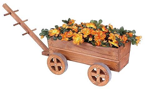 Carro Madera Marrón Carrito de flores para flores y plantas ...