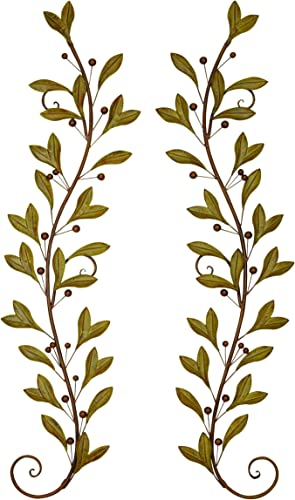 Deco 79 Metal Wall Decor Pair Adored Beautifully with Leaves and Beads