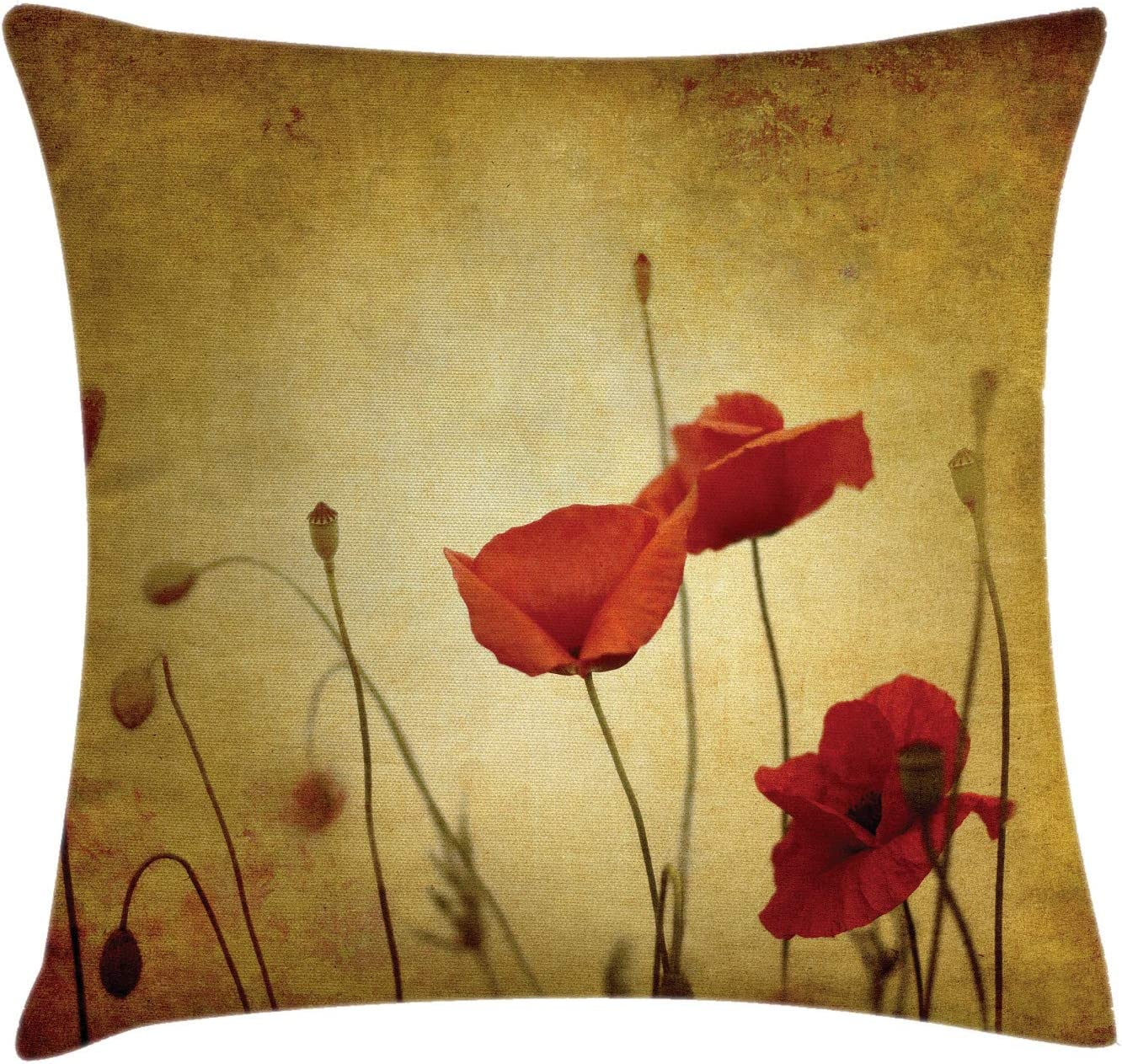 Amazon Com Ambesonne Poppy Flower Throw Pillow Cushion Cover Poppies And Buds On Ambient Dark Grunge Background Retro Effects Bohemian Decorative Square Accent Pillow Case 40 X 40 Cream Red Home Kitchen