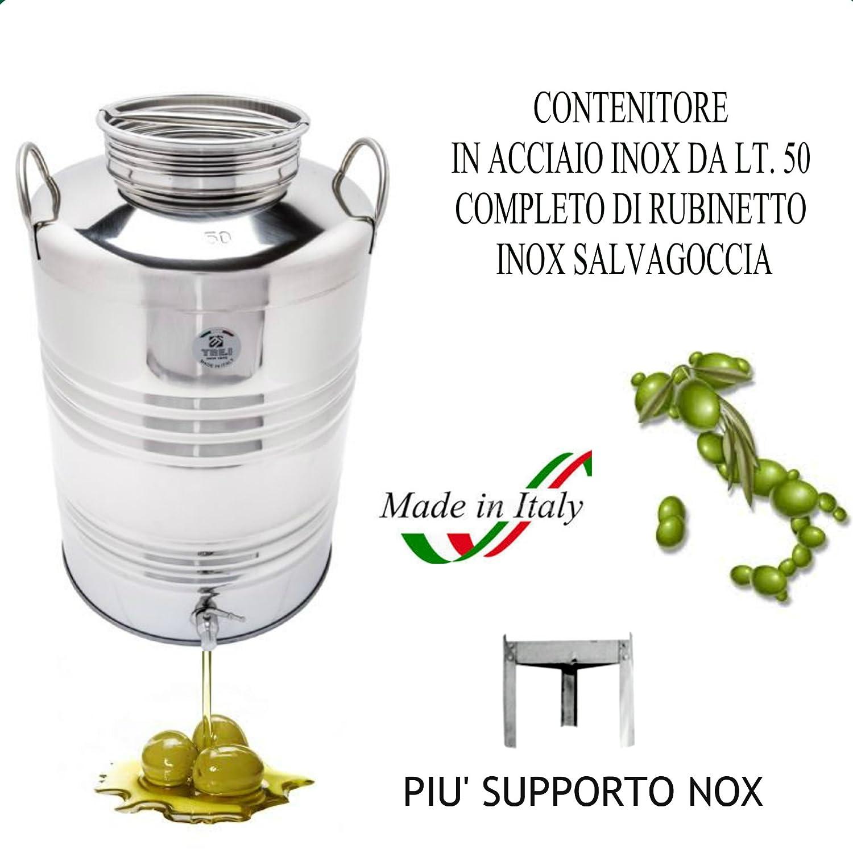 FUSTO IN ACCIAIO INOX 18/10 PER OLIO LT. 50 + RUBINETTO E SUPPORTO SUPERFUSTI