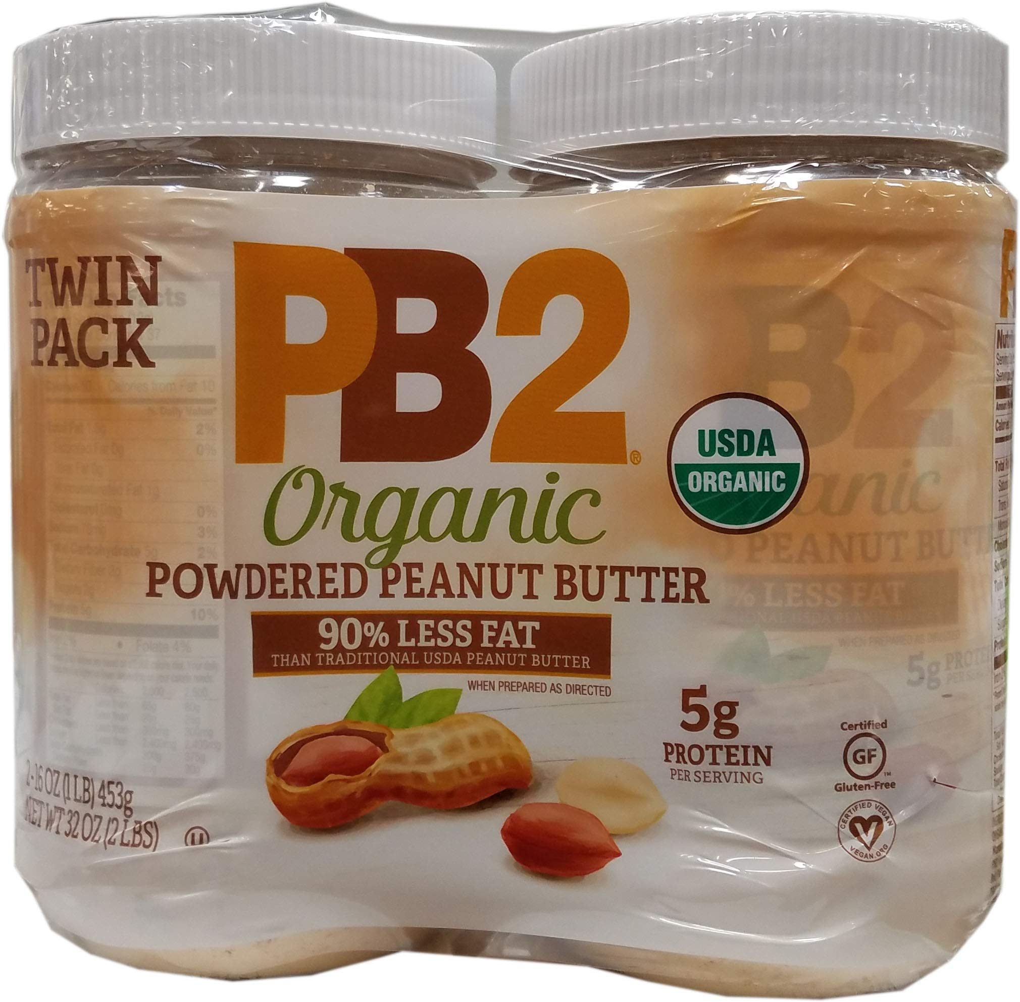 PB2 Organic Powdered Peanut Butter (2/16 Ounce)(Net Wt 32 Ounce), 32 Ounce