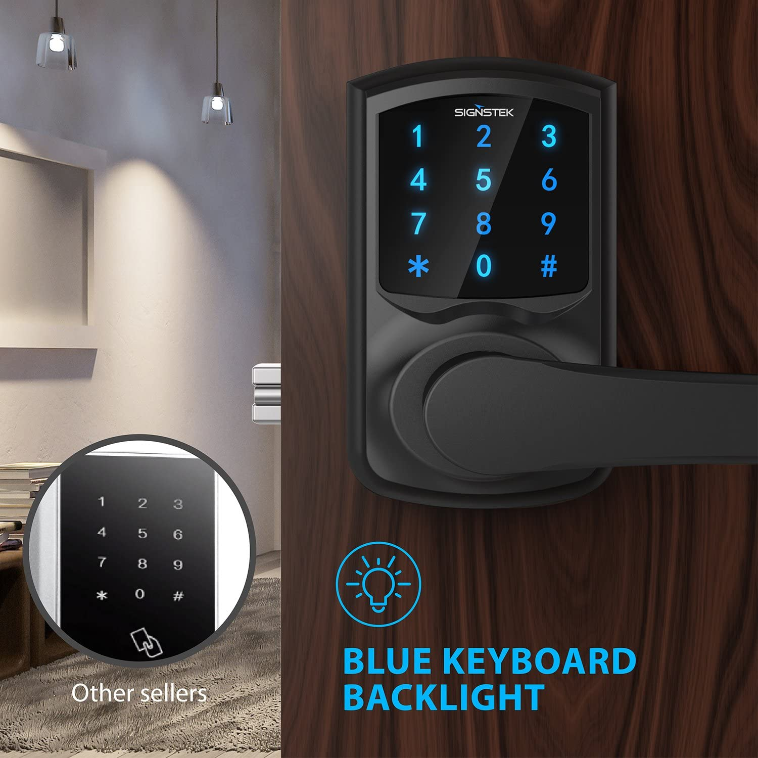 Signstek Digital Electronic Touchscreen Keypad Security Entry Door Lock for Left or Right Door Handle with Hidden Mechanical Key Black