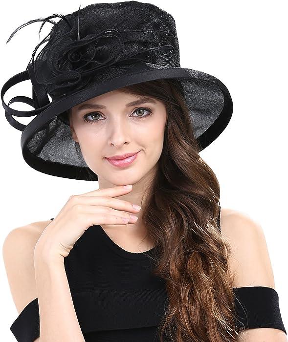 5c49718455e22 Janey Rubbins Women Kentucky Derby Horse Race Fascinator Church Fancy Party  Top Hat S043 (Black)