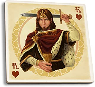 product image for Lantern Press King of Hearts - Playing Card (Set of 4 Ceramic Coasters - Cork-Backed, Absorbent)