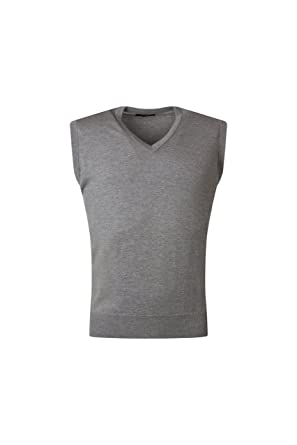 a5ca1d8e2f26a0 Great   British Knitwear Men s RZ600 100% Merino Plain V Neck Slipover.  Made in Scotland-Grey-Small at Amazon Men s Clothing store