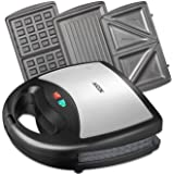 Aicok 3-in-1 Sandwich Toaster, Waffle Maker, Panini Maker, 1000 Watts, Removable Non-Stick Plates, Automatic Temperature Control, LED Indicator Lights, Cool Touch Handle, Anti-Skid Feet, Black