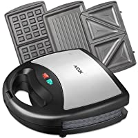 Aicok Sandwich Maker Panini Press Grill Waffle Maker American Toaster Maker 3-in-1 Detachable Non-stick Coating Table Grill Mini Maker Black