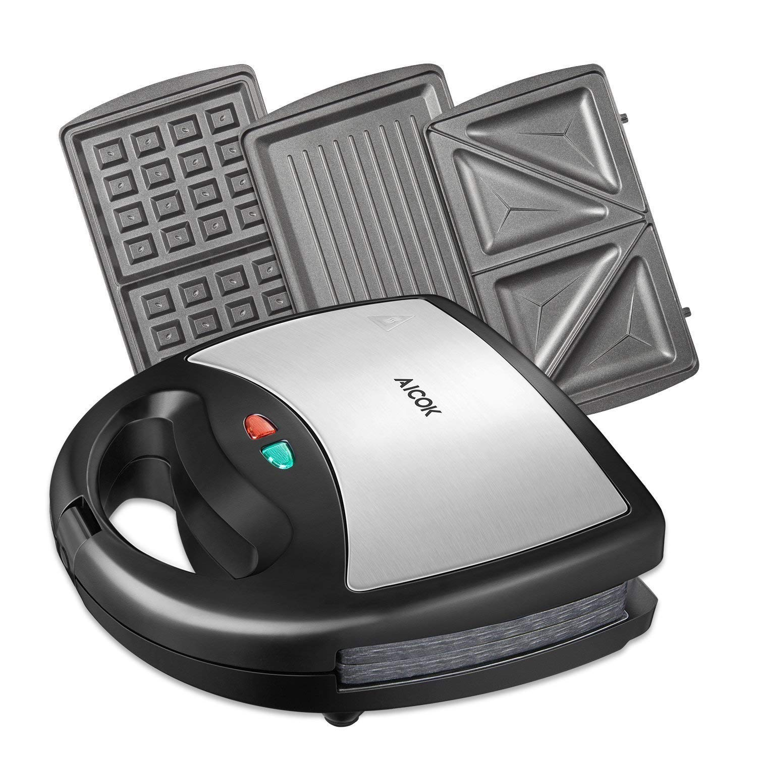 Aicok Sandwich Maker, Waffle Maker, Sandwich Grill, 800-Watts, 3-in-1 Detachable Non-stick Coating, LED Indicator Lights, Cool Touch Handle, Anti-Skid Feet, Black by AICOK