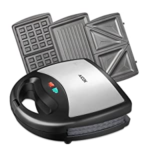 Aicok Sandwich Maker, Waffle maker, Sandwich toaster, 750-Watts, 3-in-1 Detachable Non-stick Coating, LED Indicator Lights, Black
