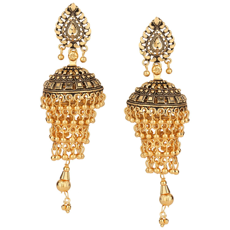 Efulgenz Indian Bollywood Bridal Designer Jewelry Oxidized Gold Plated Traditional Jhumka Jhumki Earrings for Women and Girls Jaipur Art Jewellery MER441