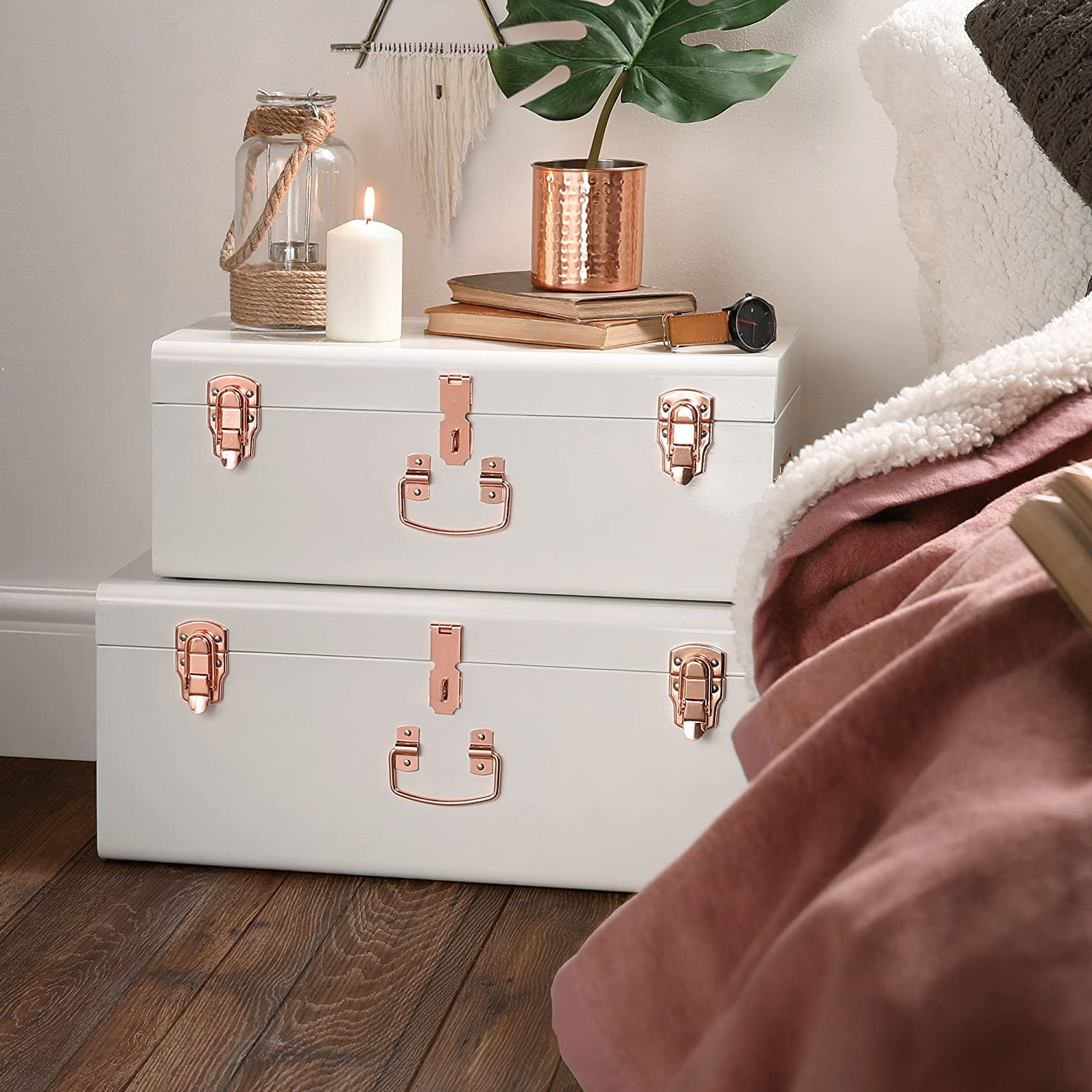 Amazon Beautify Cream Vintage Style Steel Storage Trunk Set
