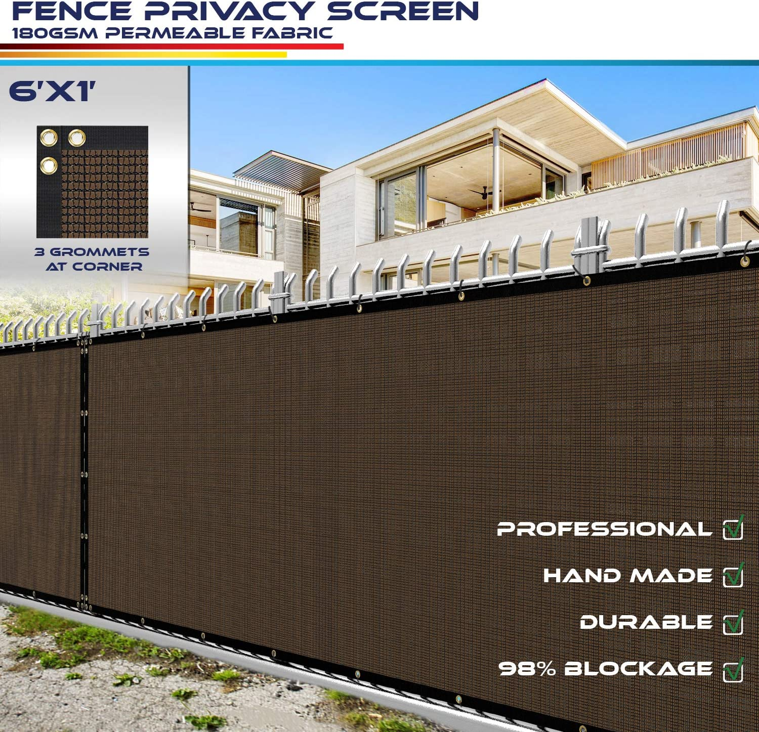 6 x 1 Privacy Fence Screen in Brown with Brass Grommet 98/% Blockage Windscreen Outdoor Mesh Fencing Cover Netting 180GSM Fabric