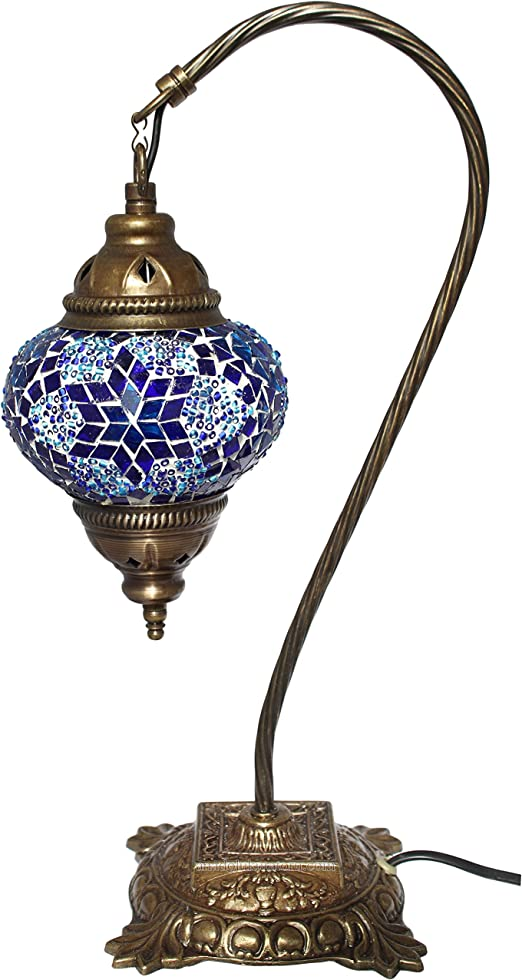 AMAZING Turkish Vintage Blue Mosaic Desk Lamp Handmade Light