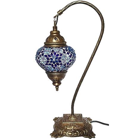 Amazon Com Table Lamp Mosaic Lamps Blue Glass Moroccan Lanterns
