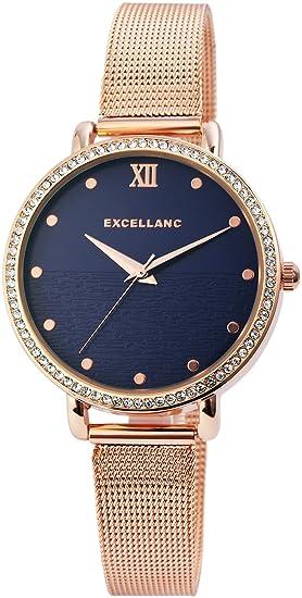 Reloj mujer azul rosado. Brillantes de oro Mesch analógico metal Reloj de pulsera: Amazon.es: Relojes