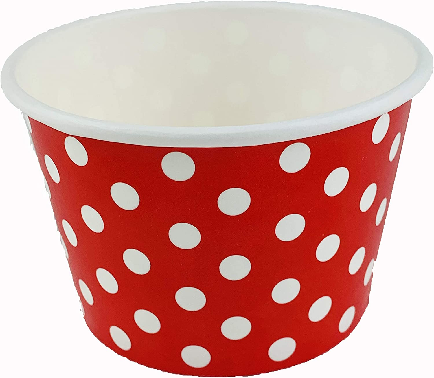 Worlds Paper Ice Cream Cups Polka Dot Paper Yogurt Cups 4oz Red 50 pack