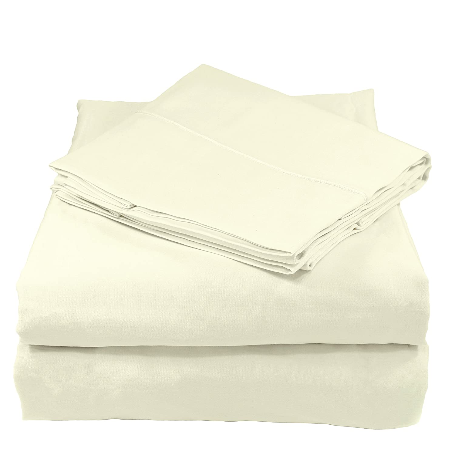 Ivory Full Whisper Organics 300 Thread Count Soft Cotton Twin Bed Sheet Set (GOTS Certified), White