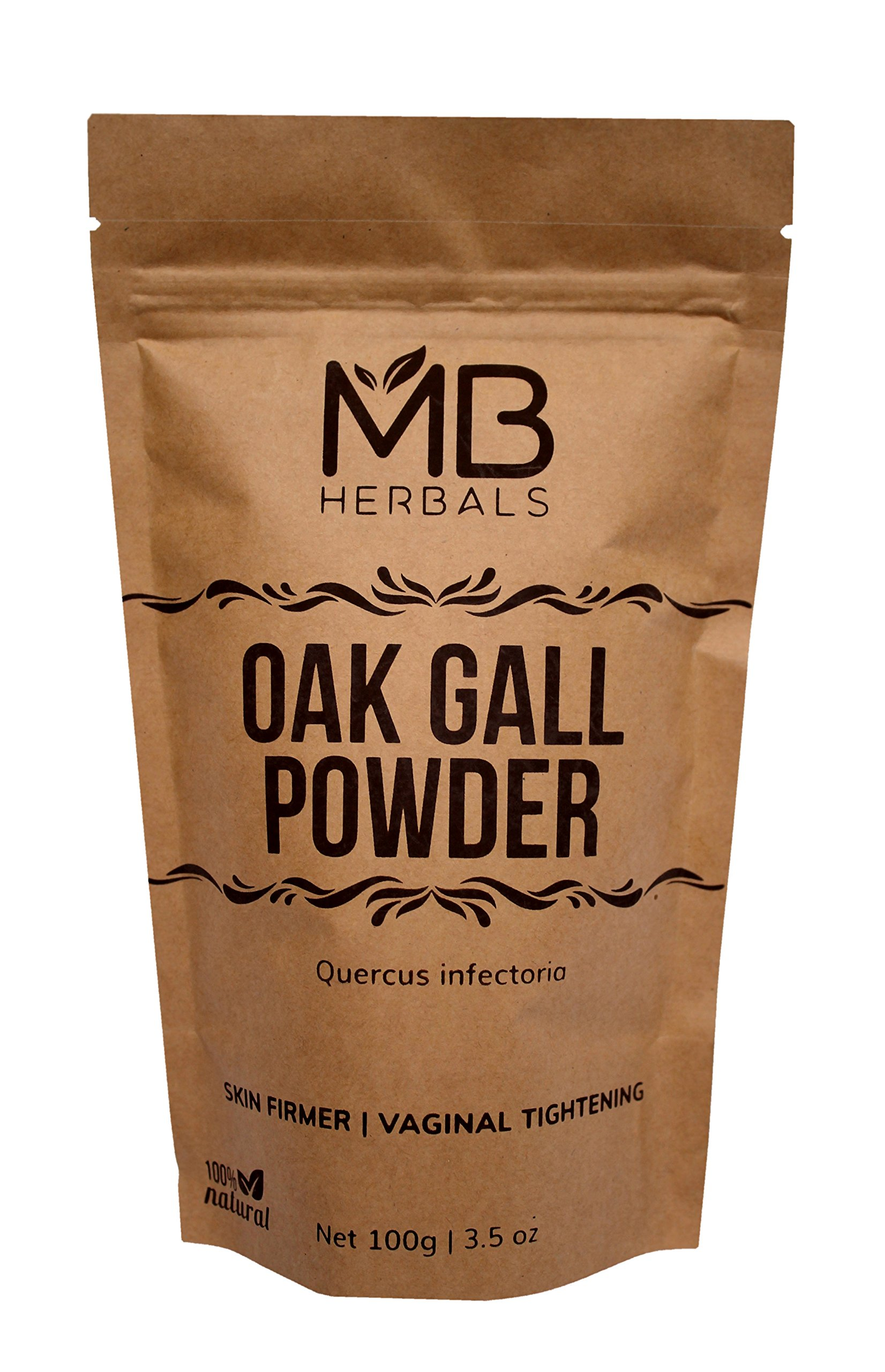 MB Herbals Pure Oak Gall Powder 100g / 3.5 oz - 100% Pure Quercus Infectoria / Majuphal / Manjakani - May help in Vaginal Tightening & Bleeding Gums