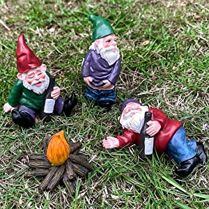 4pcs Fairy Garden Gnome Statues My Little Friend Drunk Gnome Figurines Miniature Gardening Gnomes Dwarfs Figurines Outdoor Yard Lawn Decor Resin