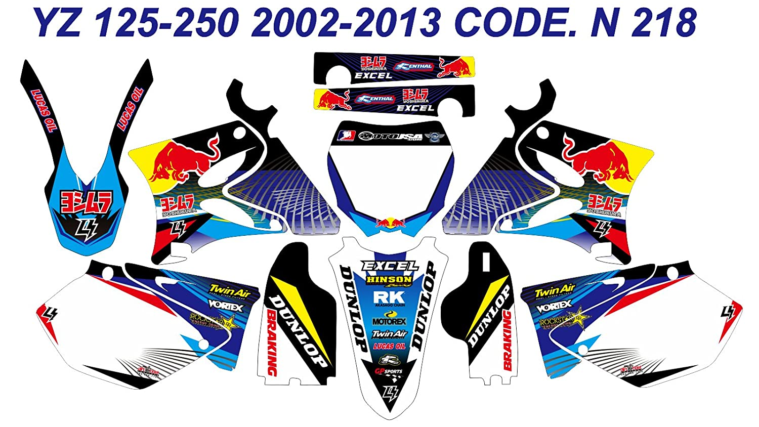 N 218 YAMAHA YZ125 YZ250 2002-2013 02-13 DECALS STICKERS GRAPHICS KIT