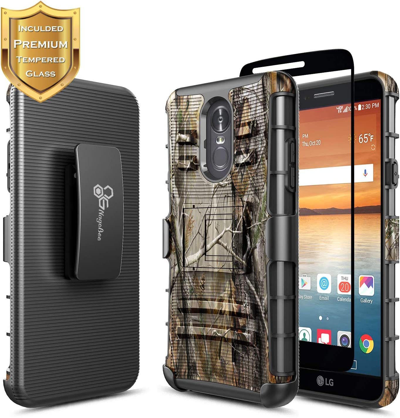 LG Stylo 4 Case, LG Stylo 4+ Plus/LG Q Stylus with Tempered Glass Screen Protector (Full Coverage), NageBee Belt Clip Holster Heavy Duty Armor Shockproof Kickstand Rugged Durable Combo Case -Camo