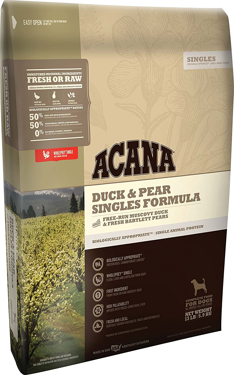 Acana Singles Duck and Pear Dog Food - 13 lbs