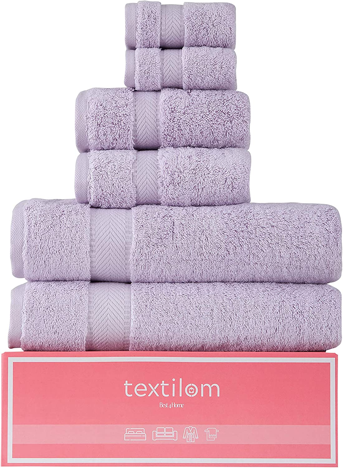 Textilom 100% Turkish Genuine Cotton 6 Piece Towel Set, Super Soft & Highly Absorbent & Quick Dry ( 2 Bath Towels, 2 Hand Towels, 2 Washcloths )- Lilac: Kitchen & Dining