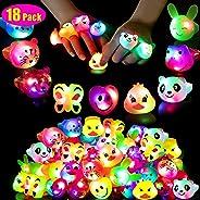 Mikulala Birthday Party Favors for Kids Prizes Flashing 18 Pack LED Jelly Light Up Rings Toys Bulk Boys Girls Gift Blinky Glo