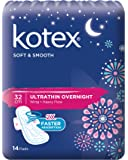 Kotex Soft and Smooth Ultrathin Wing Feminine Care Pads, 32cm, 14ct