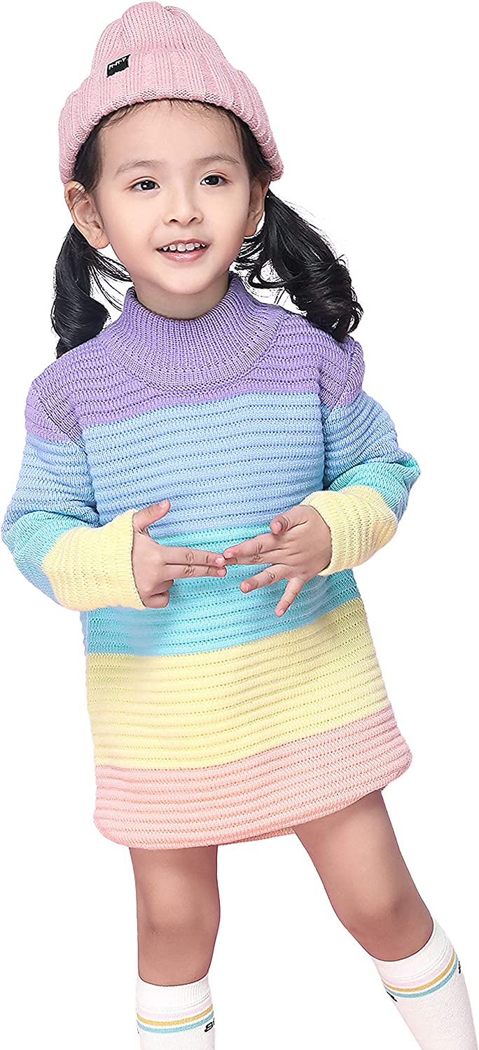 ANGUYA Sweater Dress for Toddler Girls, Turtleneck Long Sleeve Knit Pullover Sweaters Warm for Spring Fall Winter