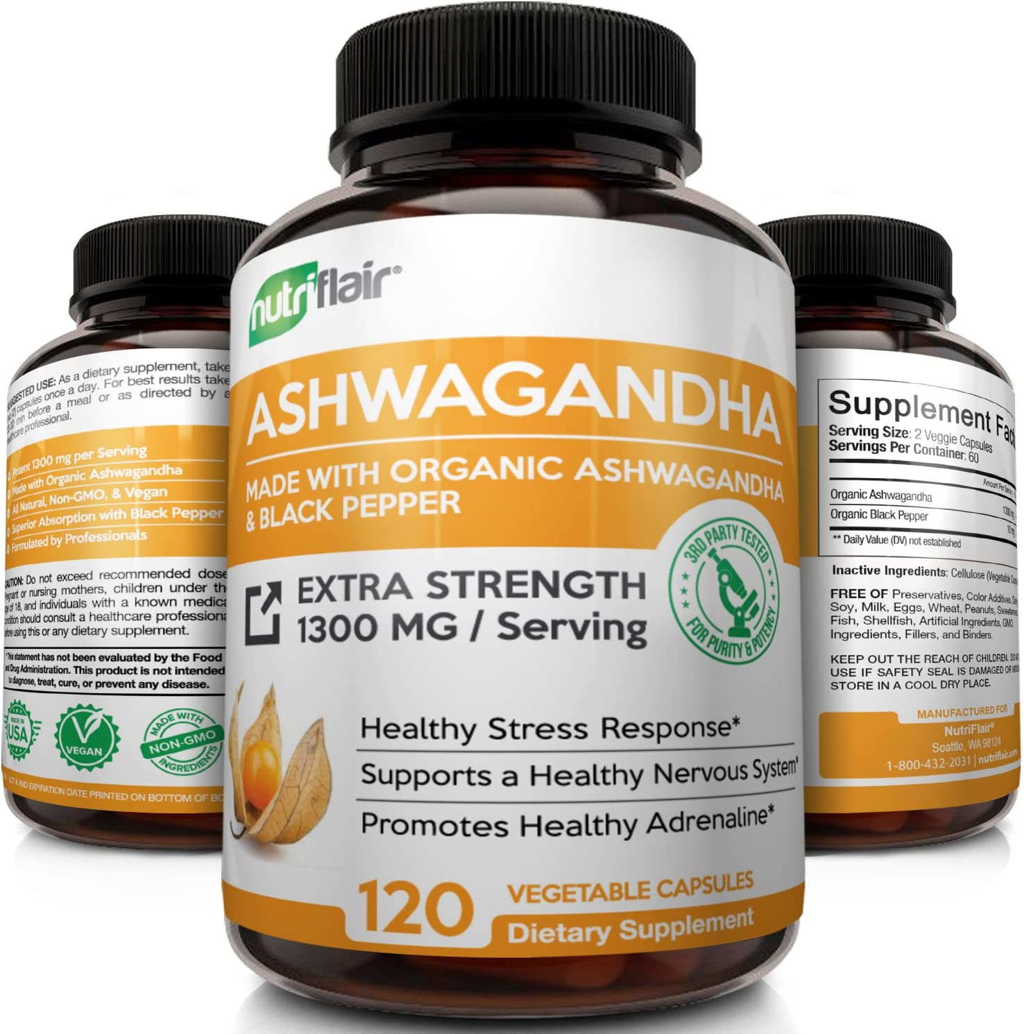Amazon.com: Organic Ashwagandha Capsules 1300MG with Black Pepper ...