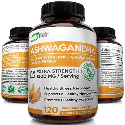 Amazon.com: Organic Ashwagandha with Black Pepper - Maximum Strength 1300MG - Best Natural Supplement for Stress & Anxiety Relief, Mood Enhancer, Immune, ...