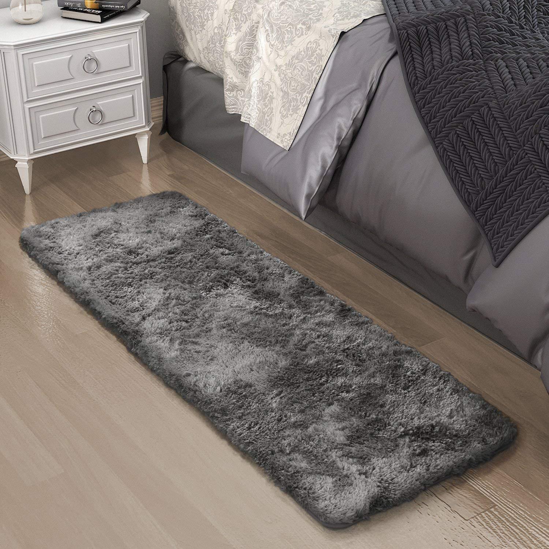 Mcgradyxm Ultra weiche Teppiche für Wohn- und Schlafzimmer, fleckenabweisend, Kinderzimmerteppiche für Familie, Kinder, Haustier Geschäft, grau, 180×60 cm