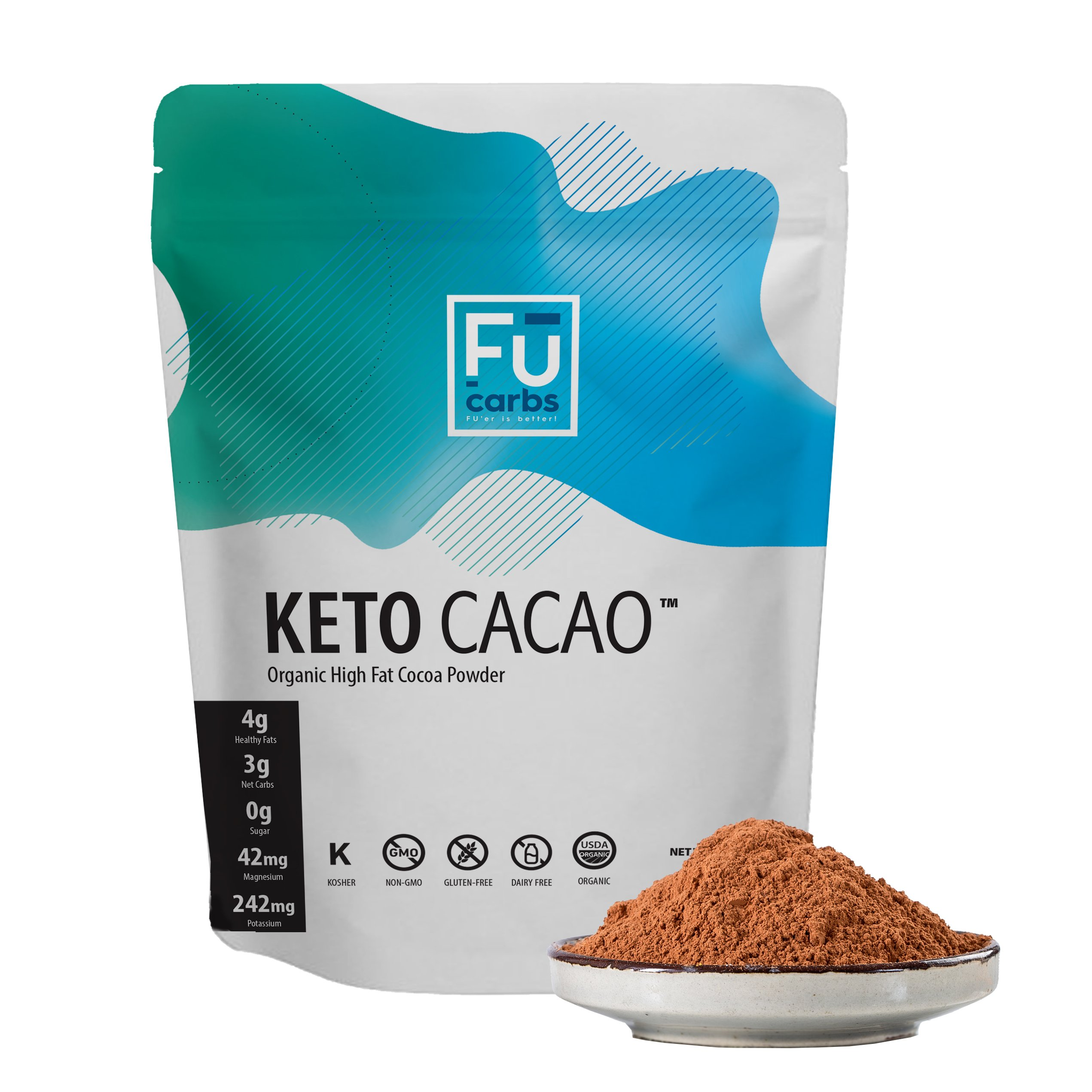 Fū Carbs Keto Cacao Powder - Low Carb & Certified Organic. Twice the Fat of other Brands' Cocoa Powder. Perfect for Coffee, Shakes, and Snacks to Enhance Ketogenic, Paleo, and Bulletproof diets. 1 LB