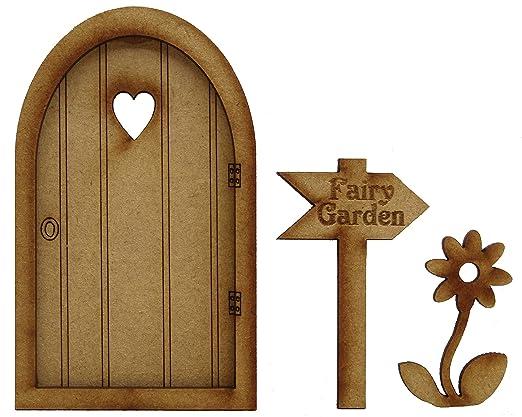 Puerta de hadas para jardín, puerta tridimensional de madera ...