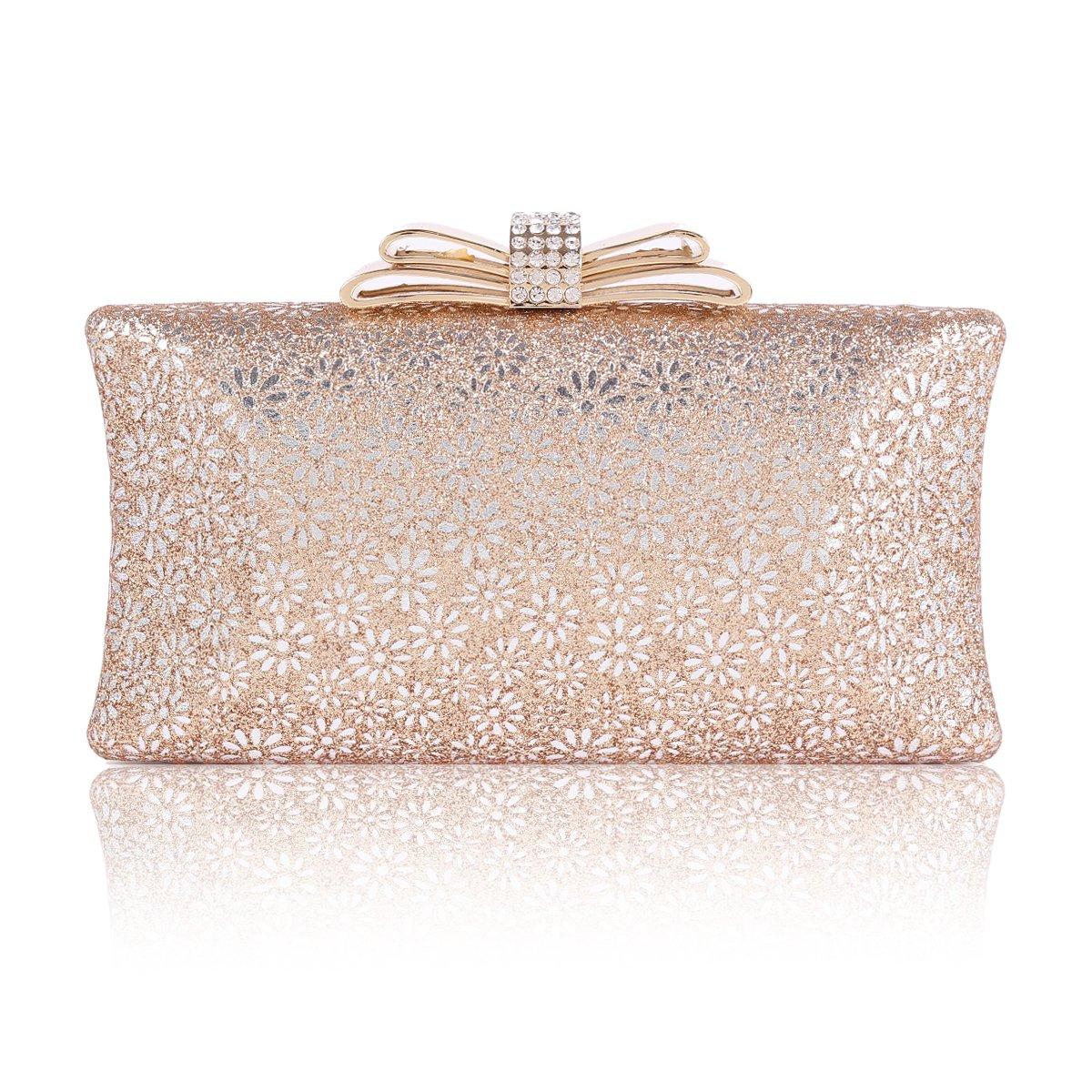 Damara Womens Hardcase Glitter Cut-out Allover Evening Bag,Champagne