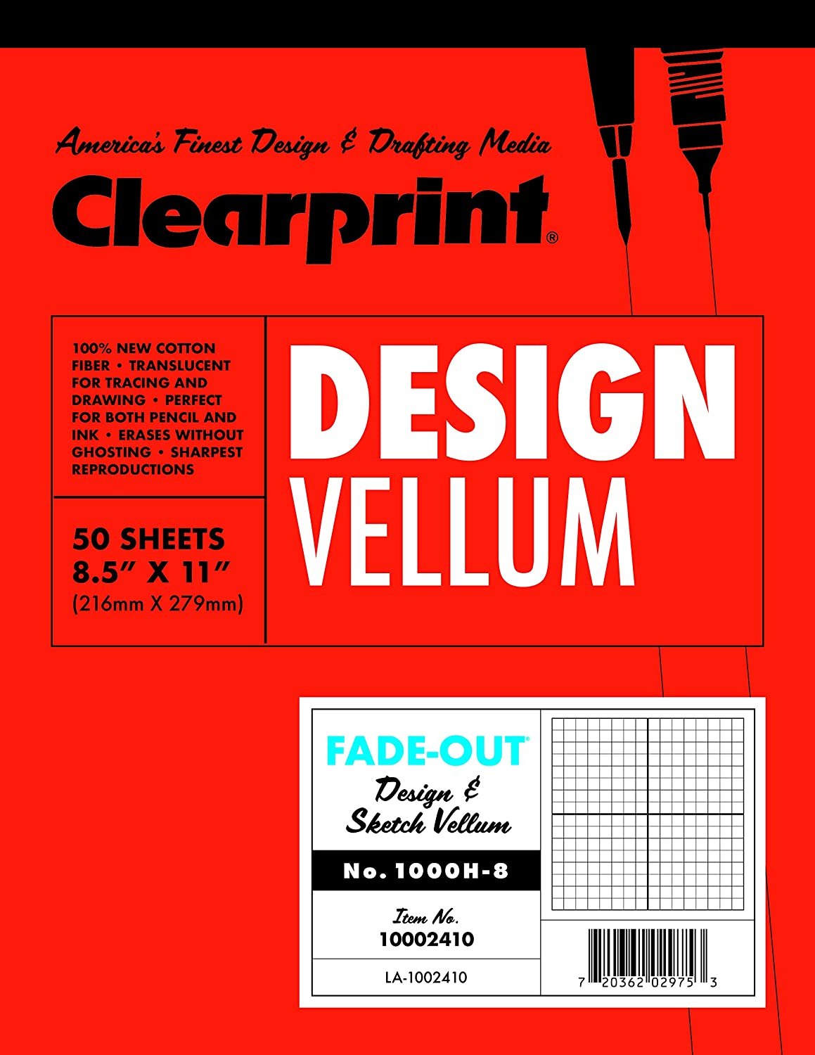 11x17 Inches 1000H 100/% Cotton 16 LB 26321641511 60 GSM 50 Translucent White Sheets 1 Each Clearprint Vellum Pad with 8x8 Fade-Out Grid