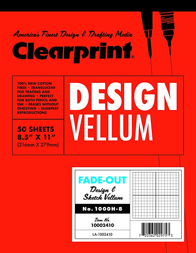 60 GSM 3x4 Inches 1 Each CVB34G 16lb 50 Translucent White Sheets 100/% Cotton Clearprint 1000H Design Vellum Field Book with 8x8 Fade-Out Grid