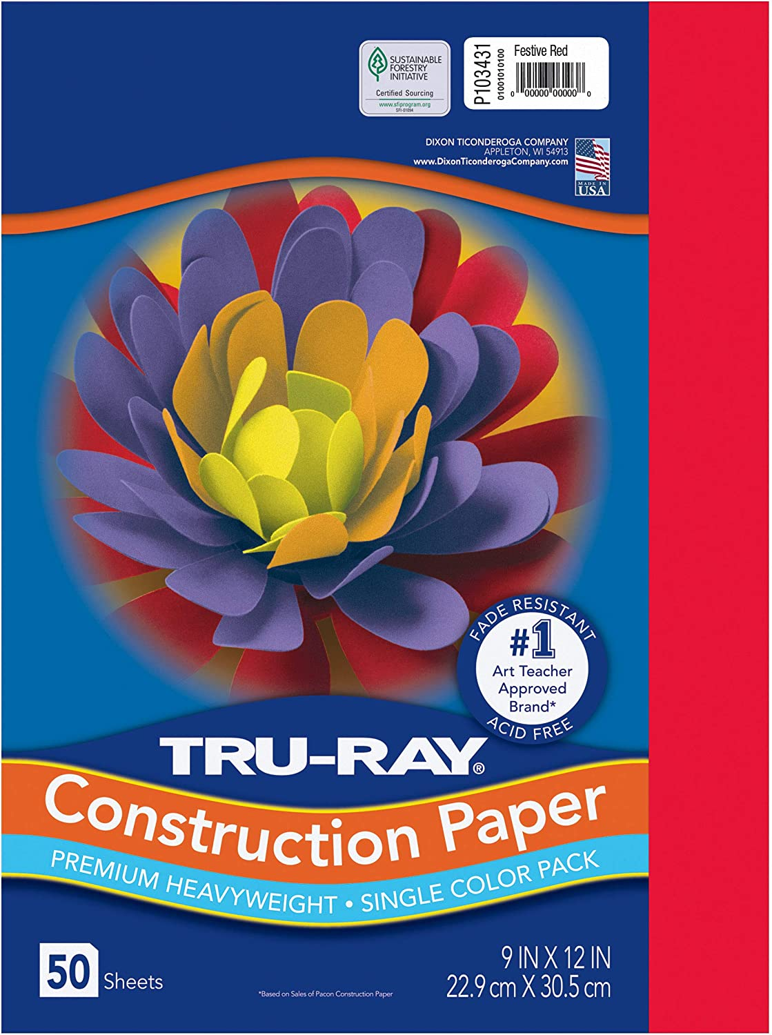 """Pacon Tru-Ray Heavyweight Construction Paper, Festive Red, 9"""" x 12"""", 50 Sheets - 103431: Industrial & Scientific"""