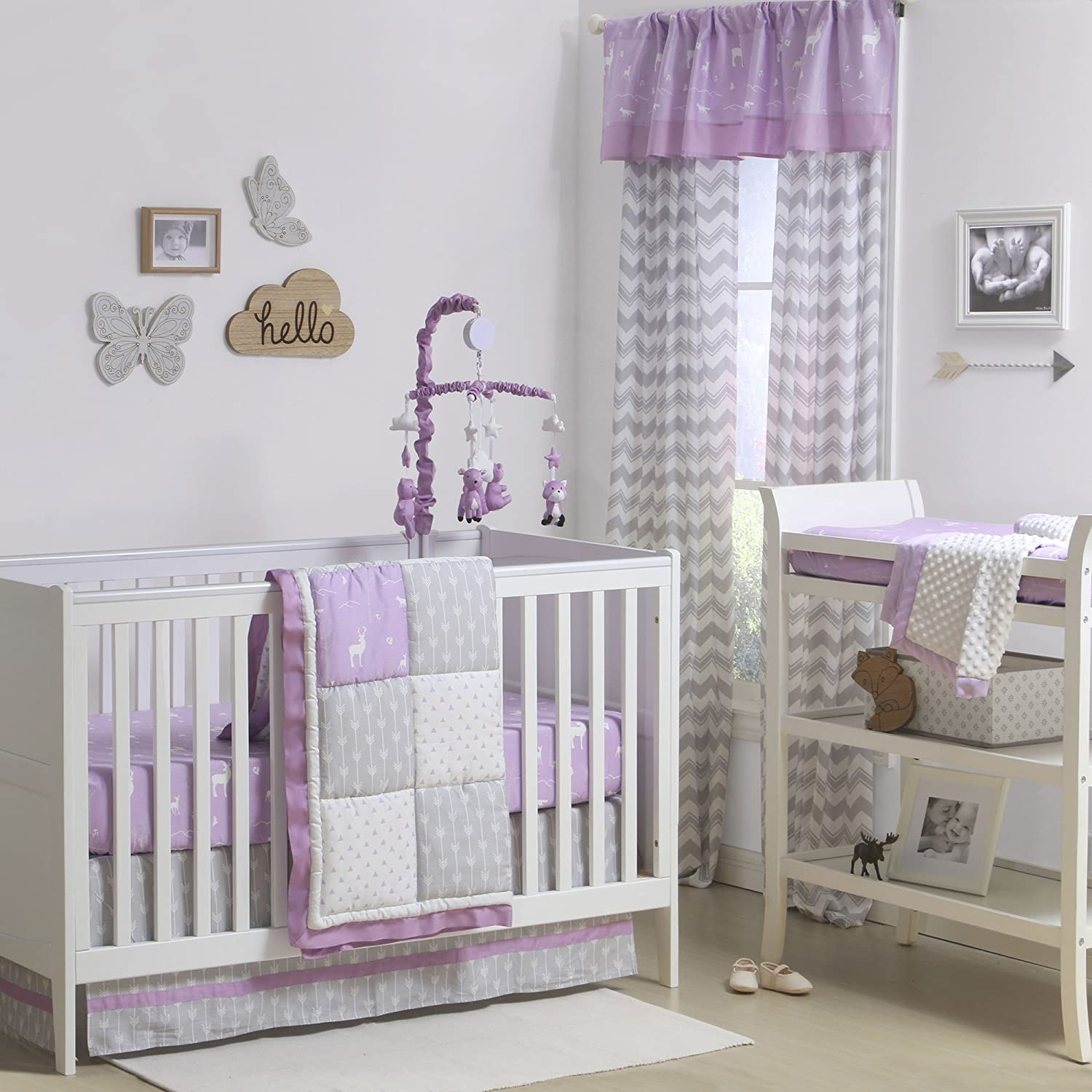 Purple and Grey Woodland and Geometric 3 Piece Crib Bedding by The Peanut Shell