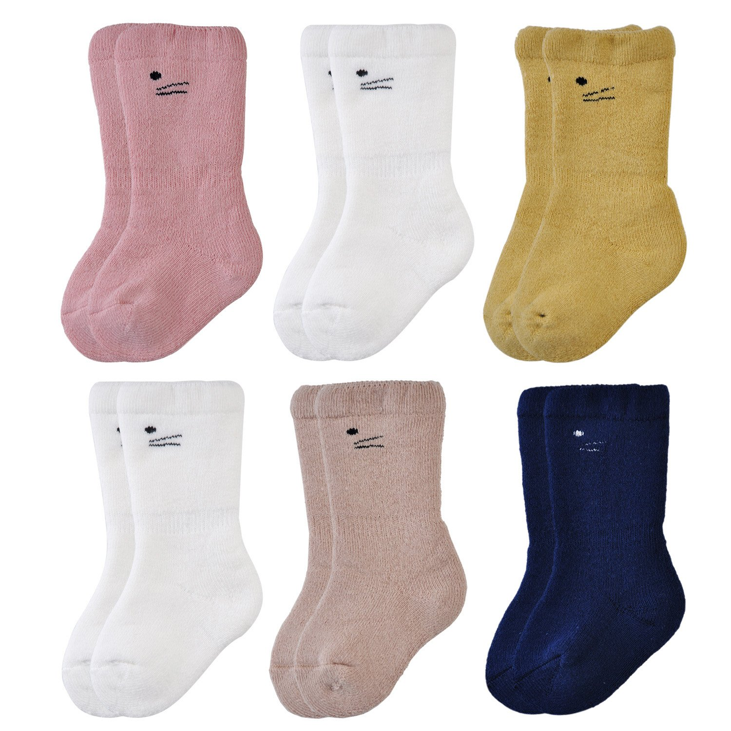 Epeius Unisex Baby Super Soft Terry Turn Cuff Socks (Pack of 3/6)