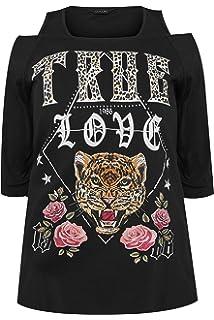 Yours Clothing Women/'s Plus Size Khaki Cold Shoulder Slogan T-shirt