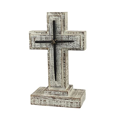 Stonebriar Accents of Faith 9 Wooden Pedestal Cross with Metal Details, Gray