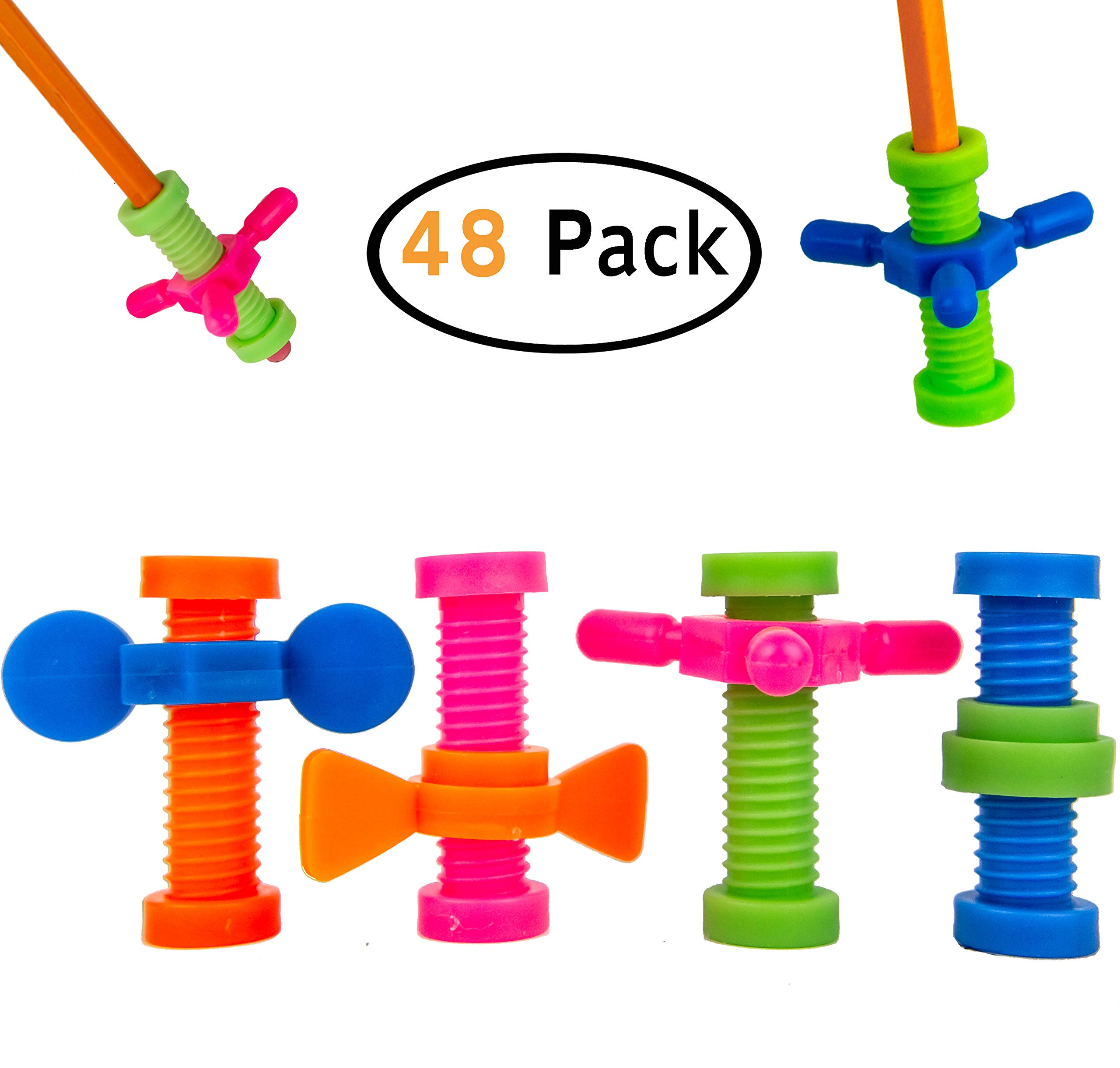 B-KIDS Pencil Fidget Toy Spinner Bulk (48 Pack) by B-KIDS
