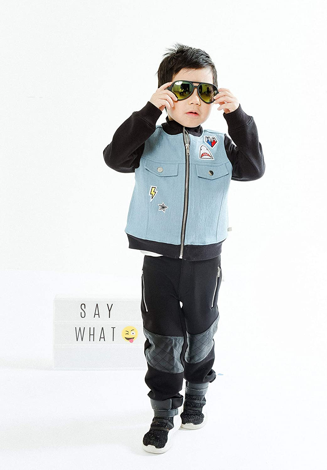 Sizes 2T-3T-4T-5T-6-7 Kinderkind Boys Mixed Media Patchwork Jacket and Pant Set