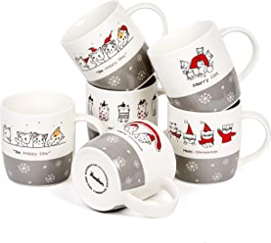 Bruntmor Set of 6 Christmas Cats Ceramic Coffee Mugs holiday-inspired mugs Christmas cat lovers gifts, 12 Oz Holiday or Birthday Present for Kitten lovers