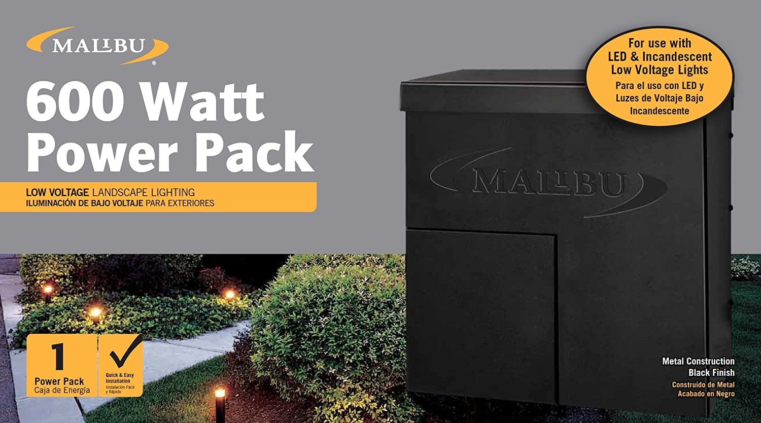 Malibu 600 Watt Power Pack With Sensor Photo Cell And Weather Shield Lighting Transformer Wiring Diagram For Low Voltage Landscape Spotlight Outdoor 120v Input 12v Output