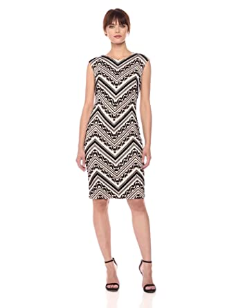 94177b16 Image Unavailable. Image not available for. Color: Vince Camuto Women's  Patterned Bodycon Dress, Blush/Black, ...