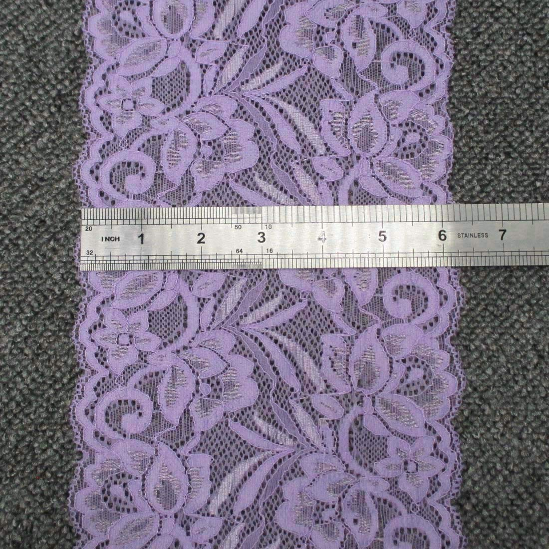 Black 10 yards 6 Inches Wide Stretch Polyester Embroidery Floral Pattern Lace Trimming DTY Craft Supply Clothing Accessories